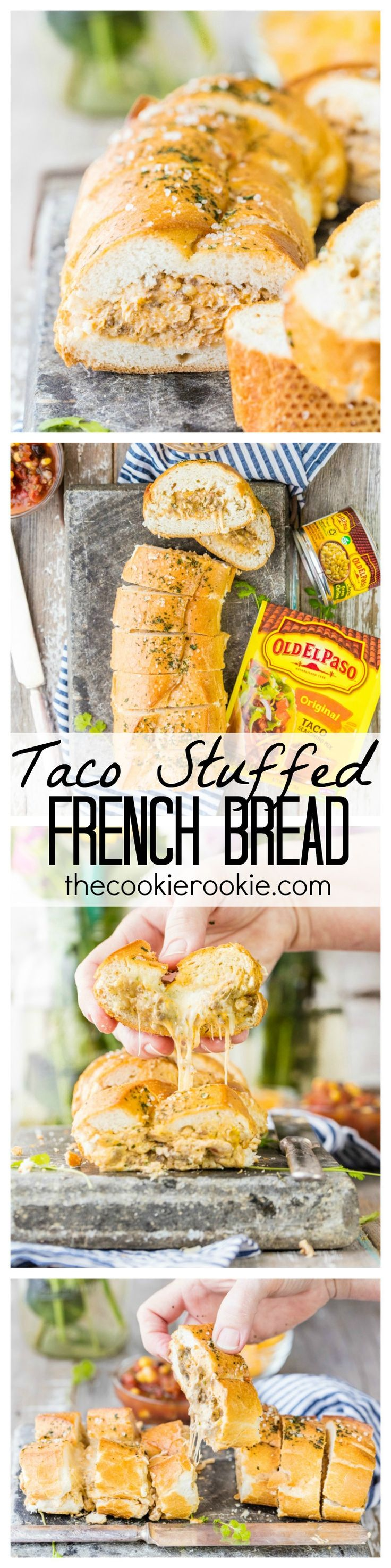 Taco Stuffed French Bread Baguette is the PERFECT appetizer for any party. WOW your guests with this delicious and CHEESY appetizer or meal. Stuffed with taco meat, cheese, and cream cheese. YUM!
