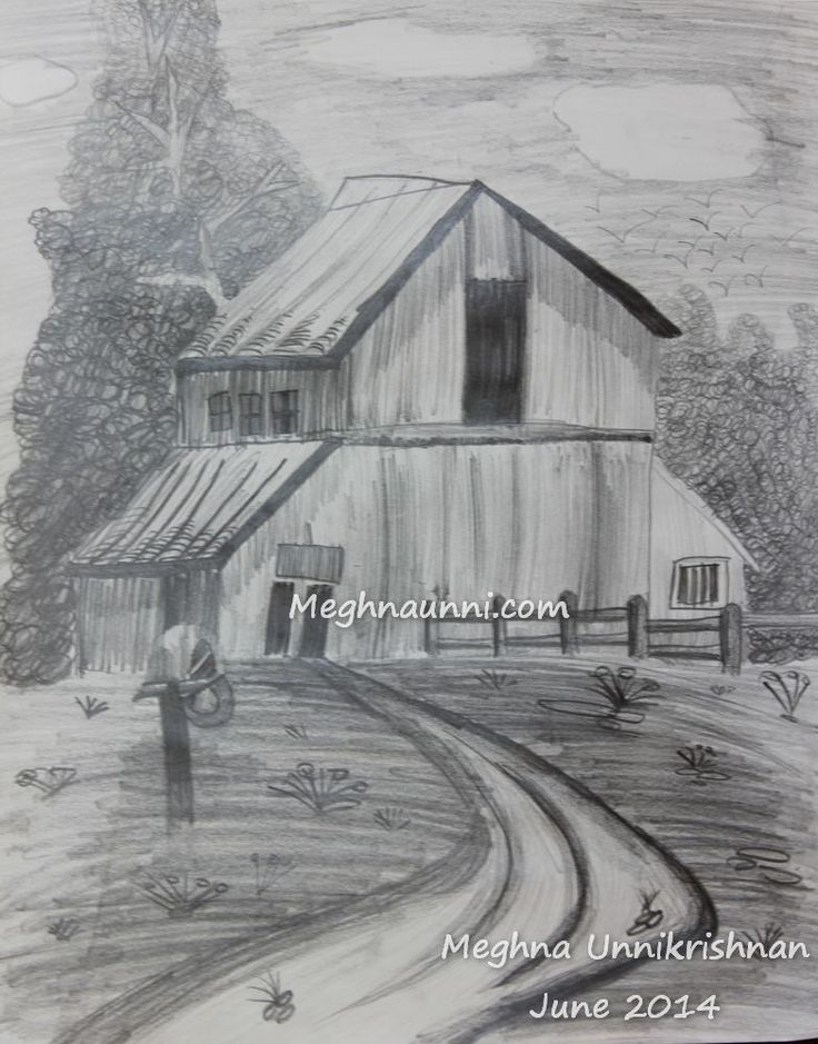 Village house pencil shading by meghna jpg 783x