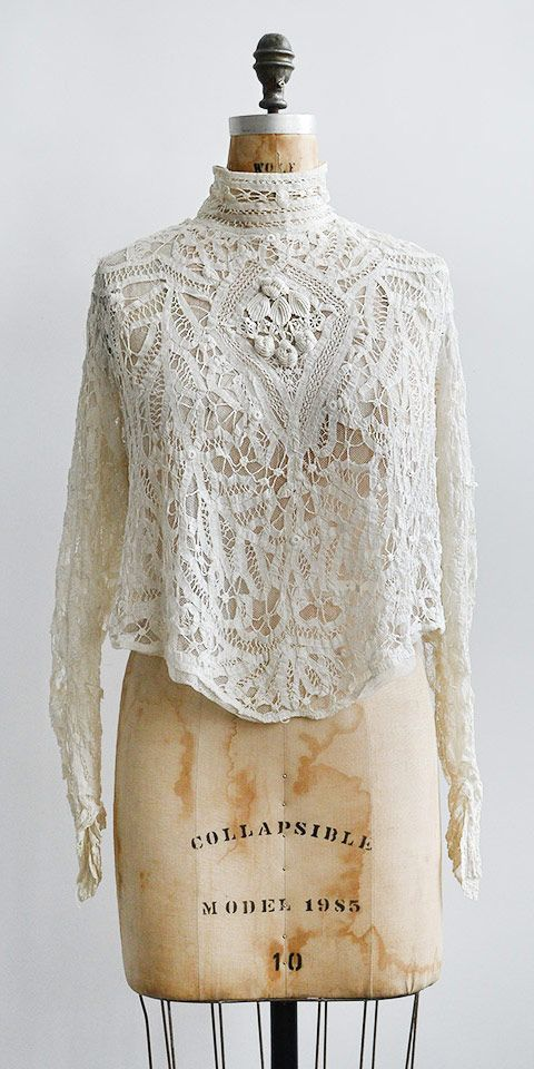antique 1890s victorian battenburg tape lace blouse