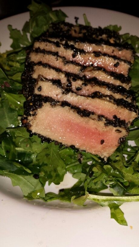 Sesame and black pepper crusted ahi tuna on a bed of arugula -wild rose cleanse recipes (D-Tox)