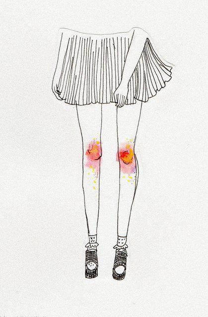 genoux écorchés, qui saignent ~~ scraped and bloodied knees