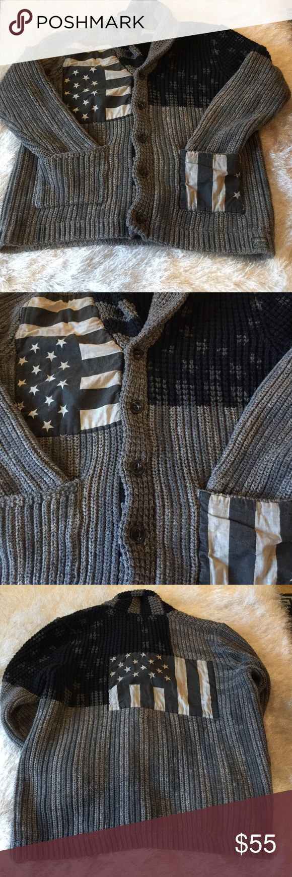 Denim and Supply Men's very heavy shawl collar cardigan with large distressed patches. Size xl Denim & Supply Ralph Lauren Shirts