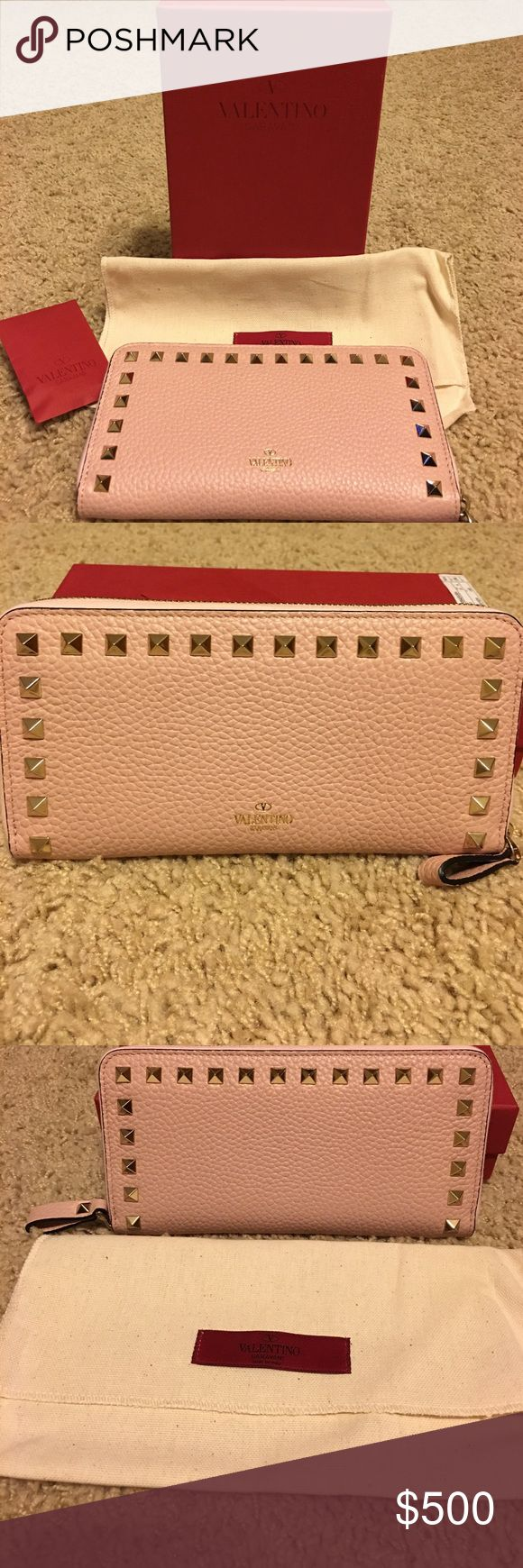 "Authentic Rockstud Continental Valentino Wallet Brand new-Authentic Stunning Rockstud Continental Leather Wallet-Zip around closure, 12 card slots. 7 1/2"" W, 4"" H, 1"" D. Comes with box, dustbag and extra studs! Color is called ""water rose"". It's pink. Valentino Garavani Bags Wallets"
