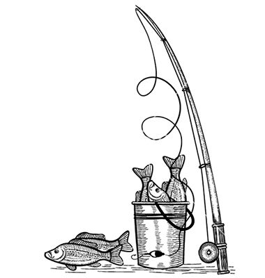 Fishing Pole Drawing Fishing rod and fishes black