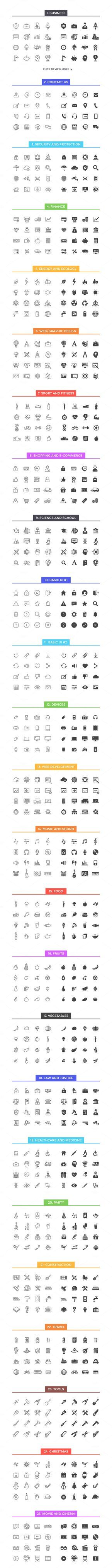 800 Line & Solid Icons including business, contact, security, finance, sports, fitness, school, devices, ui, food, media, travel, and holidays.