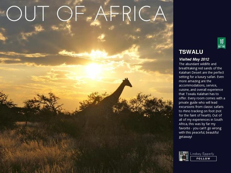 @Jeannine Orzechowski Kalahari wins my 10 star rating on Triptease - one of my all time favorite destinations!