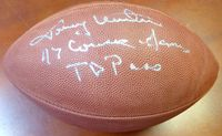 "Johnny Unitas Autographed Hand Signed NFL Football ""47 Consec Games TD Pass"" Colts PSA/DNA"