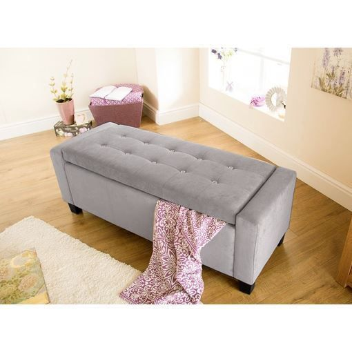 VERONA OTTOMAN STORAGE BOX CHENILLE FABRIC DIAMANTE SEAT BENCH FOOT STOOL SILVER