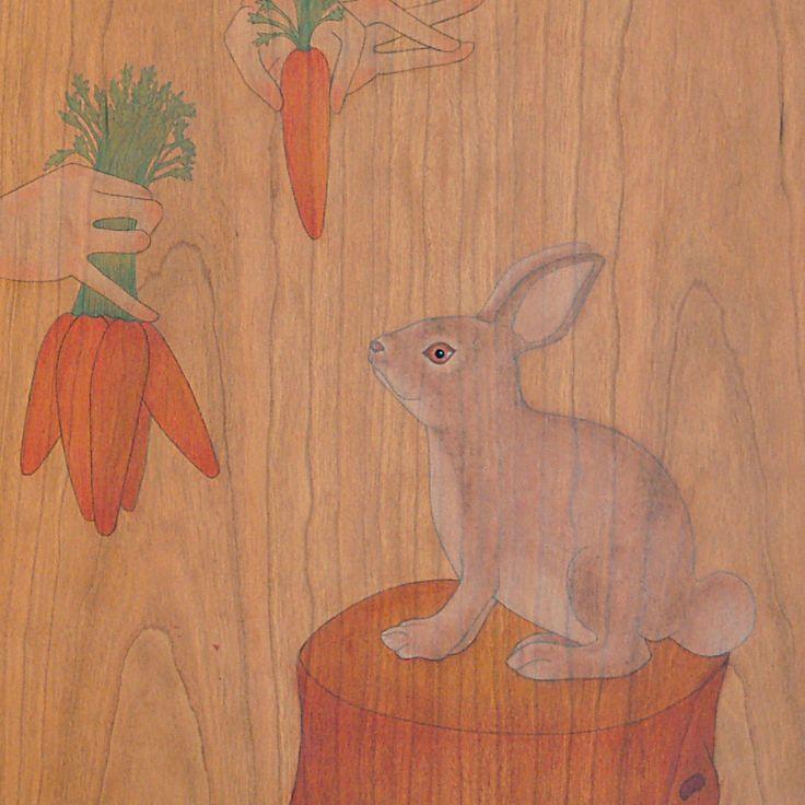 """""""would you like some carrots bunny rabbit?""""  """"que vols pastanagues conill de bosc?"""""""