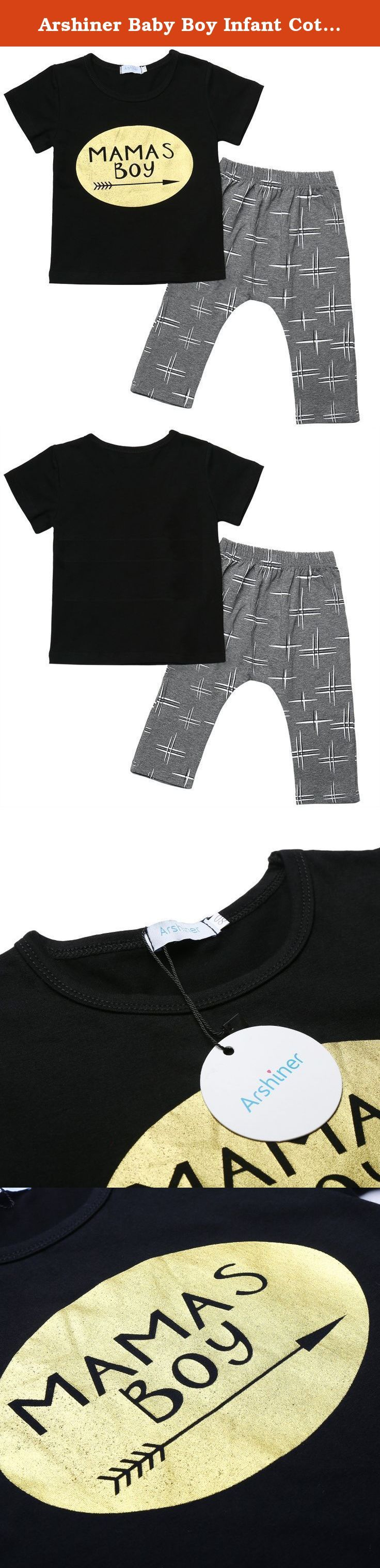"""Arshiner Baby Boy Infant Cotton Letters Printed T-shirt and Pants Outfits, Black, 80-Age(1-2Years). Size: There are 4 sizes (70,80,90,100) available for the following listing. please allow 1-2cm differs due to manual measurement, thanks (All measurement in cm and please note 1 cm=0.39 inch) *Top's Measurement 70-Age(6Months-1Year)------Chest 20.7""""------Middle Back Length 12.9"""" 80-Age(1-2Years)------Chest 21.8""""------Middle Back Length 13.7"""" 90-Age(2-3Years)------Chest 23""""------Middle Back..."""