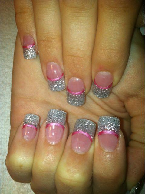 Glitter Acrylic Nail Designs | Picture: Prom time ~ silver glitter acrylic ~ Las Vegas nail art ~ www ...