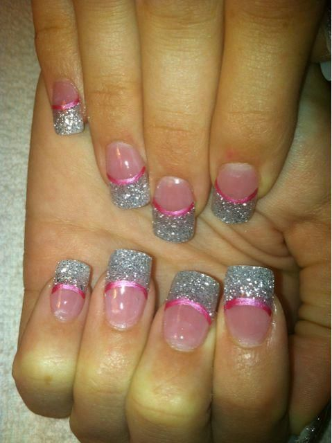 Glitter Acrylic Nail Designs | Picture: Prom time ~ silver glitter acrylic ~ Las Vegas nail art ~ www ...