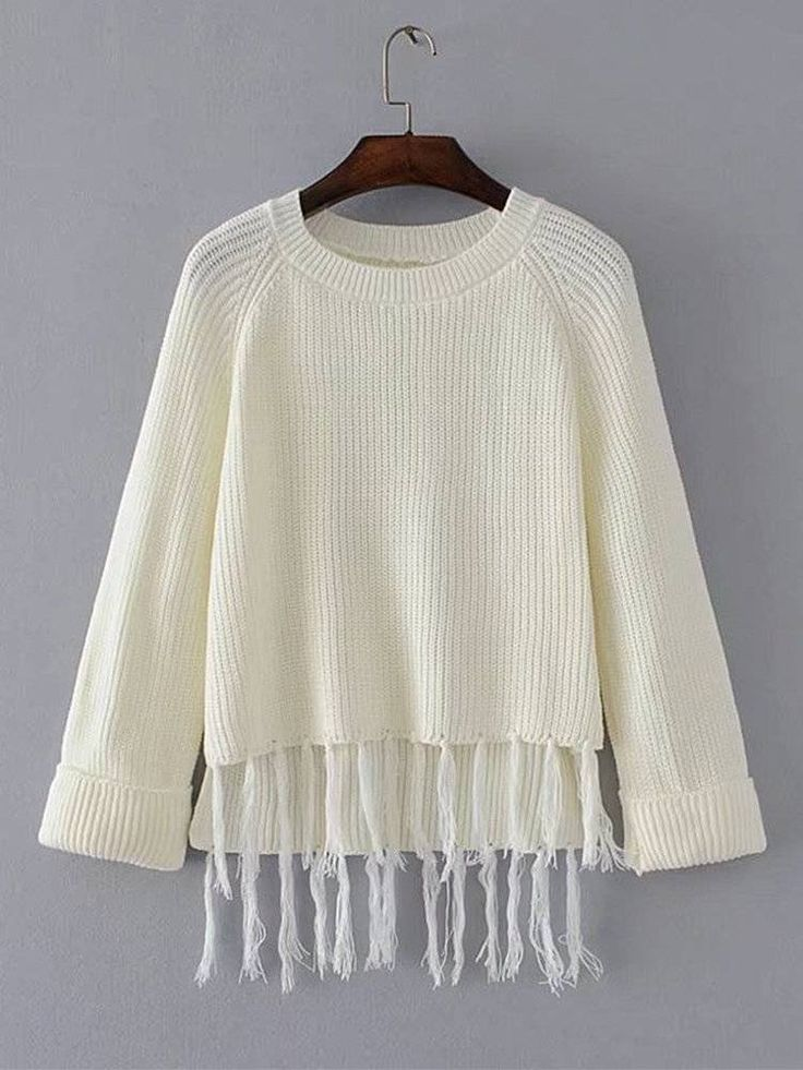 casual loose solid color tassel women sweaters