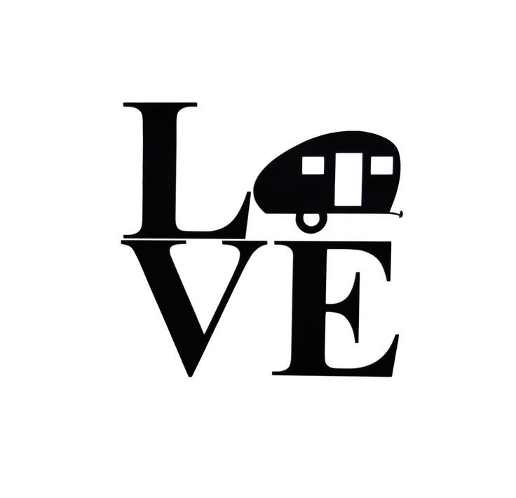"""Teardrop Camper Silhouette """"LOVE"""" Vinyl Sign Sticker Can Be Personalized! RV, Travel"""