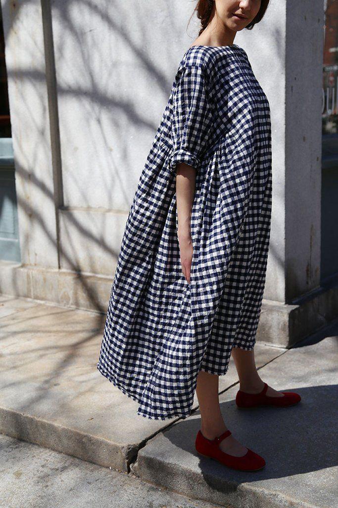 Veritecoeur Check Cotton Dress