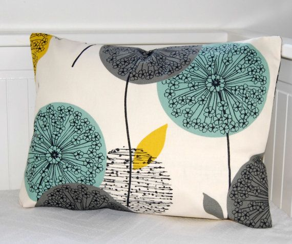 decorative pillow cover teal grey mustard, dandelion sofa cushion cover lumbar 12 x 18 inch