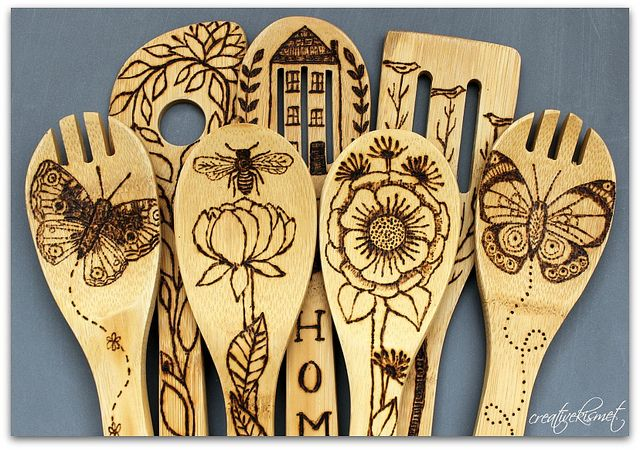 wooden spoons -- personalized / art added with wood burner tool