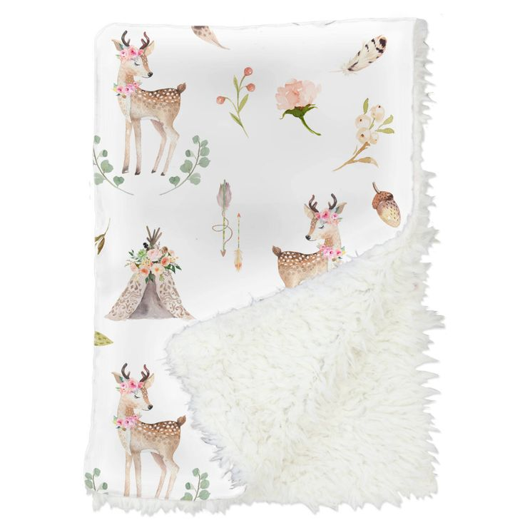Blakely Boho Woodland Deer Baby Blanket | Tee Pee, Peach, Woodland Animals, Custom Blanket, Boho Baby Gift | Girl Woodland Nursery by CadenLaneBabyBedding on Etsy https://www.etsy.com/listing/544888944/blakely-boho-woodland-deer-baby-blanket