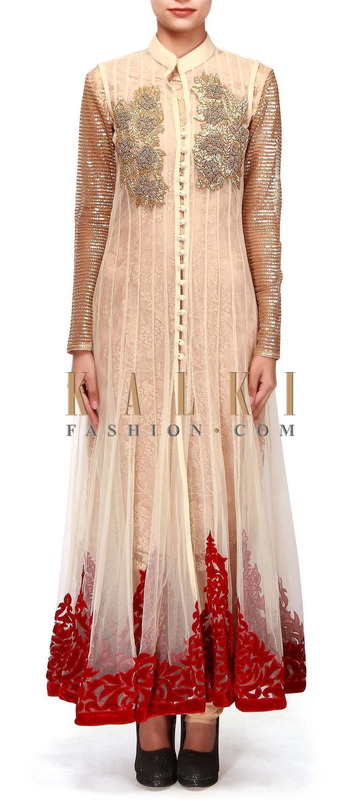 Buy Online from the link below. We ship worldwide (Free Shipping over US$100).  http://www.kalkifashion.com/beige-anarkali-suit-featuring-in-kardana-and-patch-work-embroidery-only-on-kalki.html
