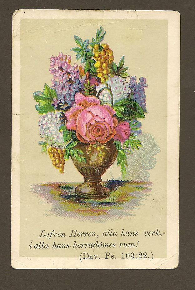 Victorian Swedish Scripture Card Psalm of David 103 Verse 22 Bountiful Vase of Flowers. $4.00, via Etsy.
