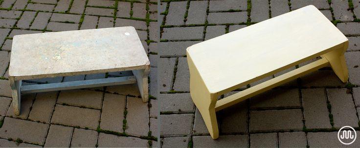 Renovace stoličky, žlutý odstín Straw Bale od The Crafty Bird.