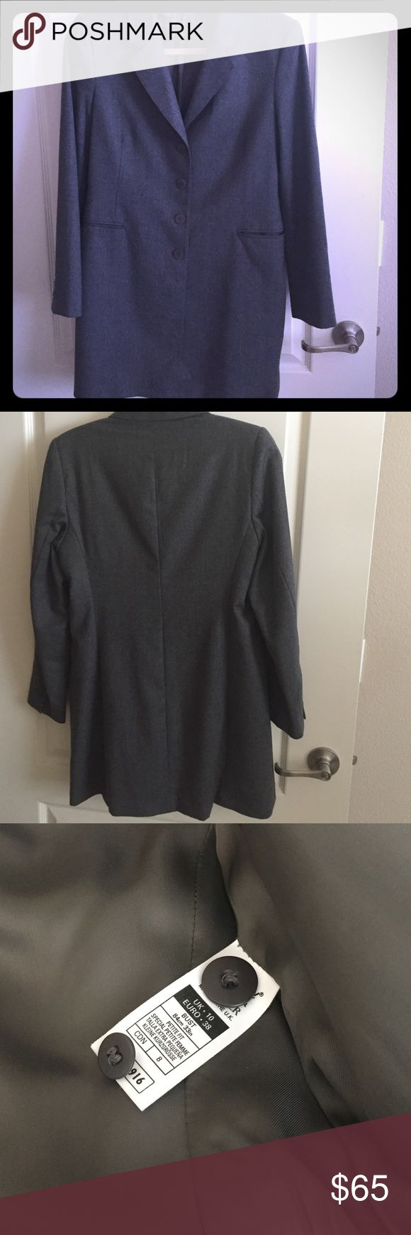 Marks & Spencer Grey Long Blazer Bought in London. Great quality Designer. Grey long coat/blazer. Lined in 100% Silk. 98% Wool 2% Elastaine. 4 Buttons down front ( Comes with 2 original buttons inside label)! Worn twice. UK 10. So US can fit 4/6/8. Throw over jacket! No signs of wear. Jackets & Coats Blazers