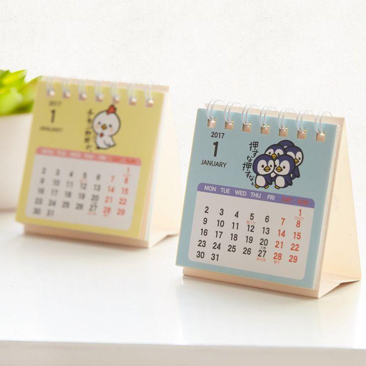 Year 2017 Mini Cartoon Desktop Paper Calendar dual Daily Scheduler Table Planner Yearly Agenda Organizer