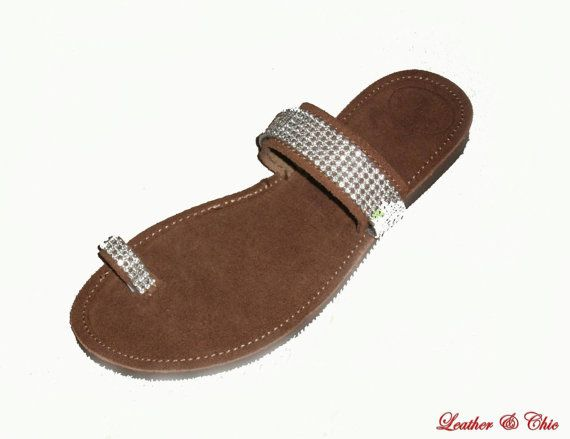 Elegant sandals  -  Leather Sandals  with stones - Suede Brown Leather