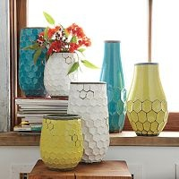 love the shape variety and the colors: Decor, Westelm, Ideas, Hive Vases, Colors, Living Room, Honeycomb Vases, West Elm