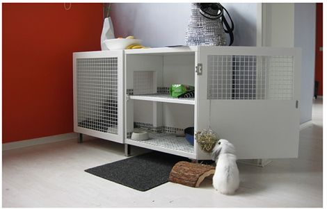 Besta Shelf Turned Top Shelf Bunny Hutch Keeps Your Pet Cage-Free | PANYL self-adhesive furniture finishes.  Lauren, what about this concept for a hutch for hair/makeup on top of your dresser?
