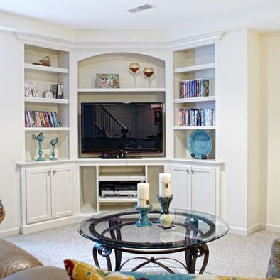Love the corner entertainment center.   Basement Design, Pictures, Remodel, Decor and Ideas - page 22