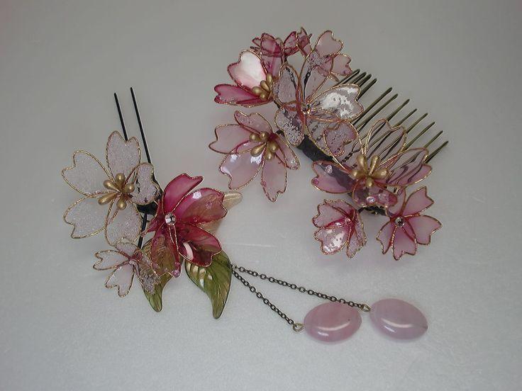 イメージ0 - 久しぶりのディップアート 寒桜のコームかんざしの画像 - つまみ細工 花ちりめんのかんざし - Yahoo!ブログ