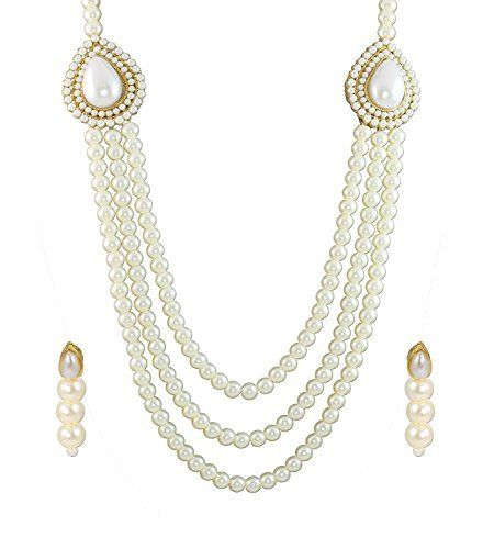 Elegant Indian Bollywood Pearls White Multistrand Moti Rani Haar Jewlry Necklace Set By Ddivaa Ddivaa, http://www.amazon.com/dp/B01N4U6KE9/ref=cm_sw_r_pi_dp_x_wFIuzb6C542AE