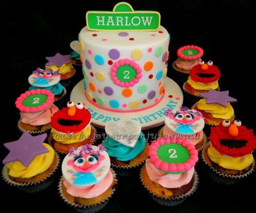 Sesame Street Cake with Elmo and Abby Cadabby