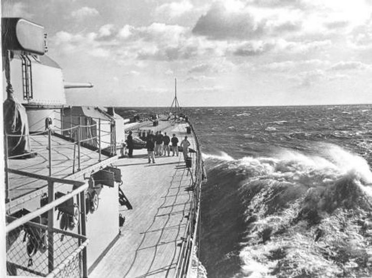 Deck view forward of 8 in Hipper class heavy cruiser Prinz Eugen, 1941: consort to Bismarck during Operation Rhine, her attempted breakout into the Atlantic in May 1941, and to Scharnhorst / Gneisenau during Operation Cerberus, the 'Channel Dash' back to Germany from the French Atlantic Coast in February 1942 - two classic naval episodes of WW2.