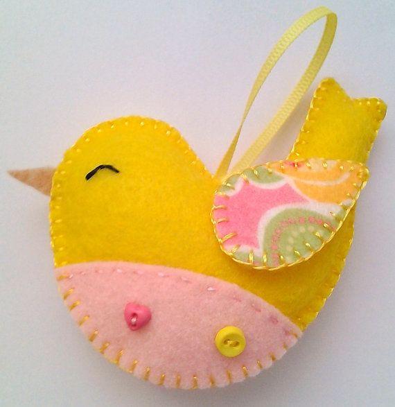 Handmade felt bird ornament by LITTLEFACTORYCRAFTS on Etsy