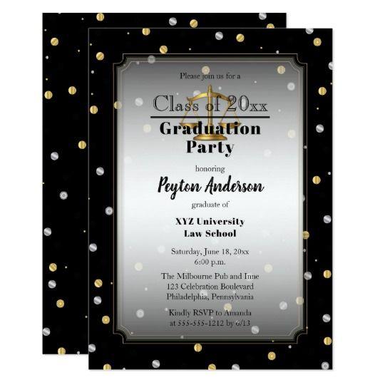 Chic Confetti Dots Law School Graduation Party Card Confetti And
