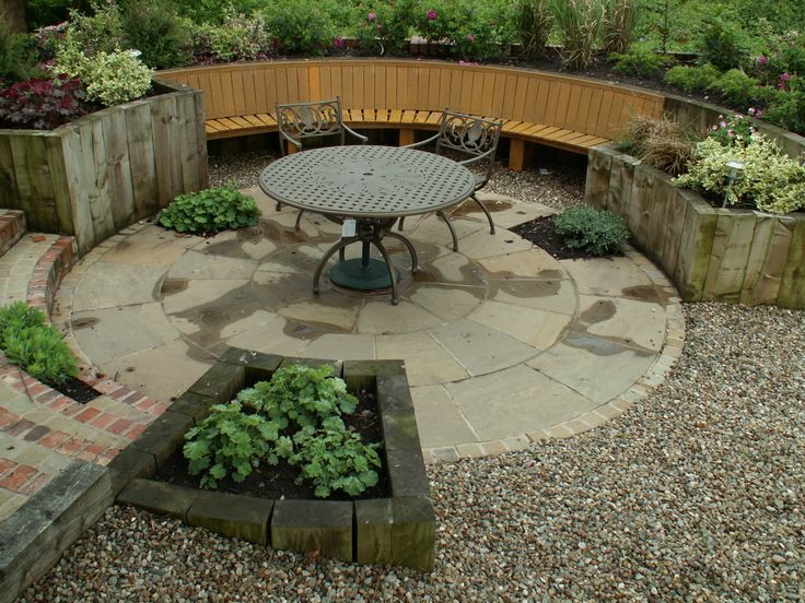 paving and curved timber raised beds