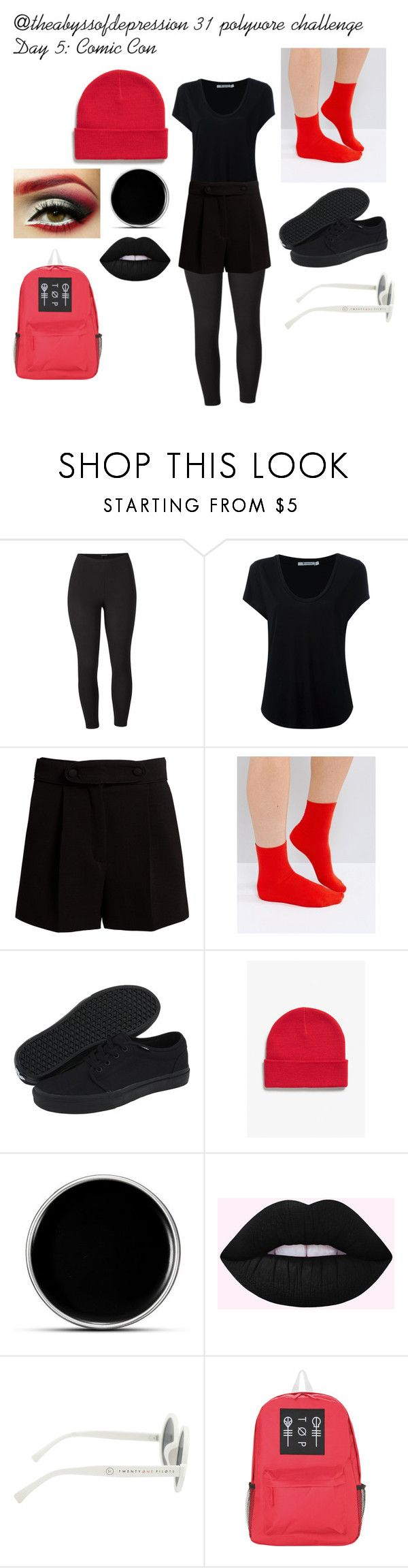"""""""Comic con (blurryface)"""" by gaaaaalaxy ❤ liked on Polyvore featuring Venus, Alexander Wang, Valentino, ASOS, Vans, Monki, Hot Topic and plus size clothing"""