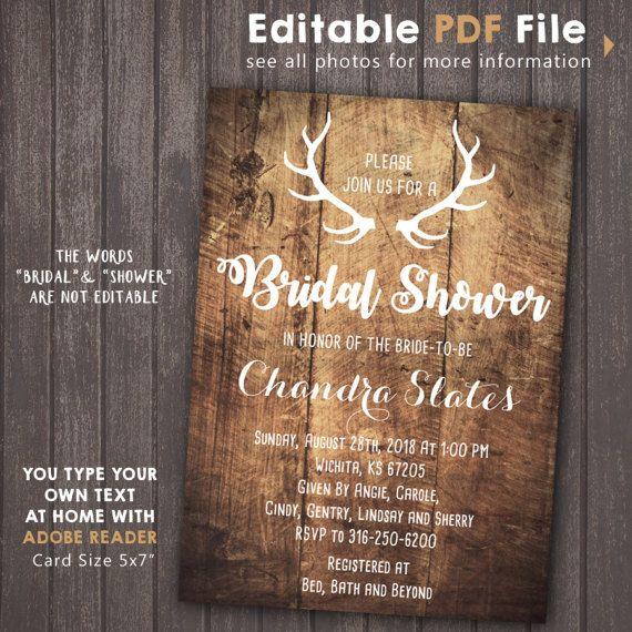 INSTANT DOWNLOAD Antlers Bridal Shower invitation deer by Corollaa