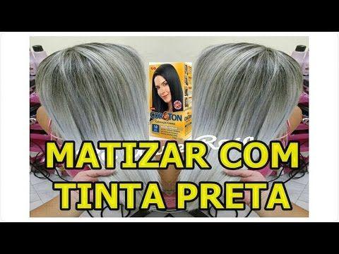 COMO MATIZAR E PLATINAR AS MECHAS COM 1.0 TINTA PRETA - YouTube