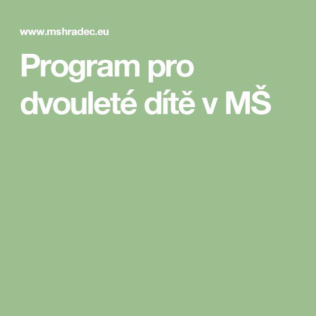 Program pro dvouleté dítě v MŠ