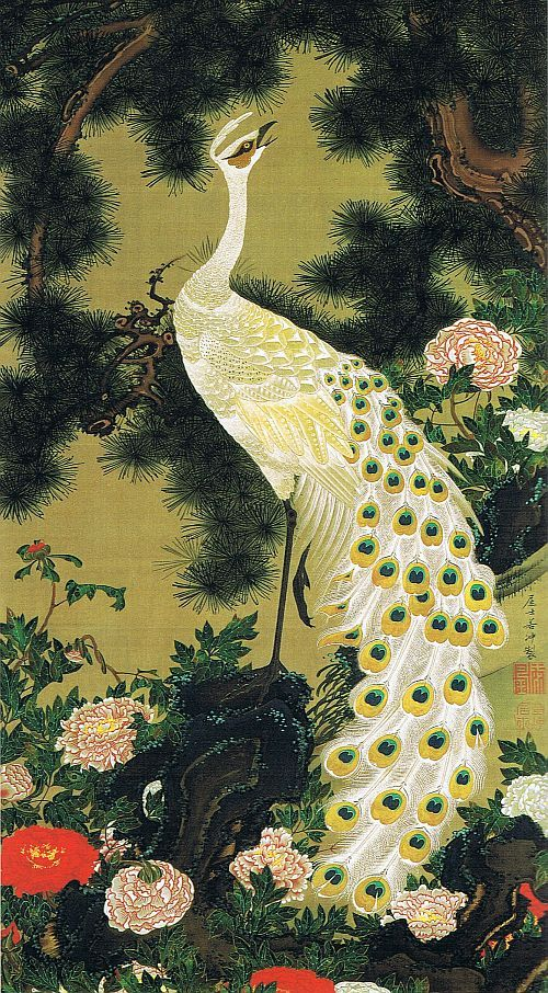 Jakuchu Oimatsu peacock figure and (Zu recite Peacock), #Japan