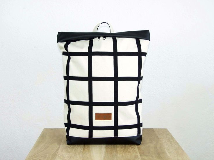 White canvas minimal checked  backpack with black letaher by robobambi on Etsy