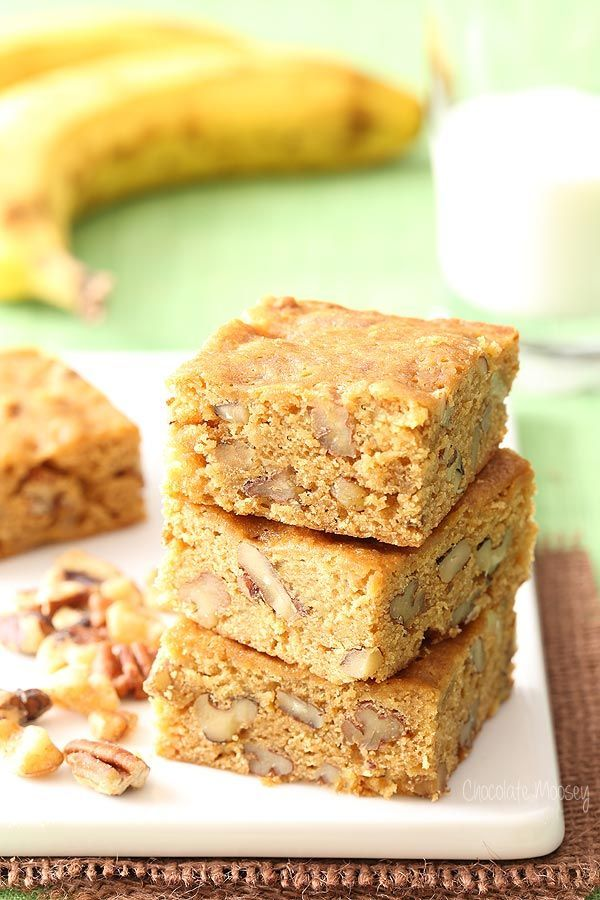 If you have overripe bananas sitting on your counter but are tired of making banana bread, bake up these Banana Nut Blondies instead. They taste like banana bread in bar form and are a great on-the-go snack.