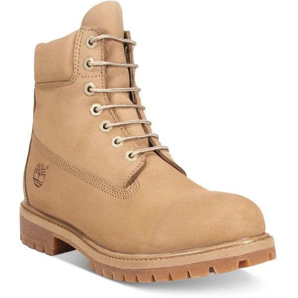 "Timberland Men's Waterproof 6"" Premium Boots ($190) ❤ liked on Polyvore featuring men's fashion, men's shoes, men's boots, tan, mens boots, mens shoes, timberland mens shoes, mens tan boots and mens nubuck shoes"