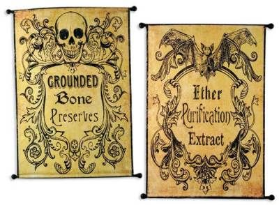 "Gothic Apothecary Banners    Only a pharmacist of ill-intent would advertise such medicinals. 25 x 20"". Printed Canvas. Wire hanger."