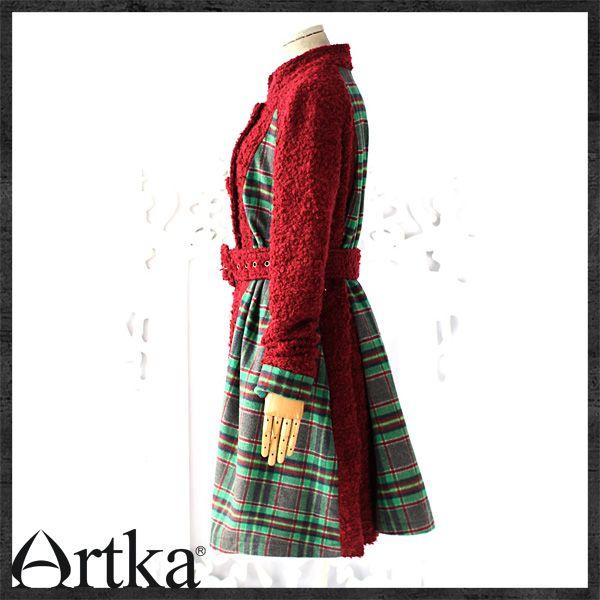 Пальто комбинированной расцветки на пуговицах с ремнём, 14746964676 купить за 11070 руб. с доставкой по России, Украине, Беларуси и миру | Пальто | Artka: интернет-магазин обуви и одежды Artka