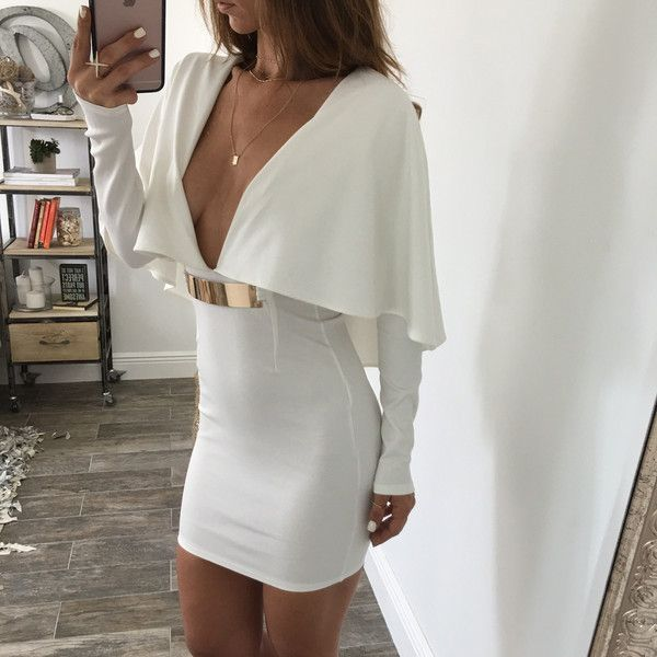 Anna Deep V Dress - White