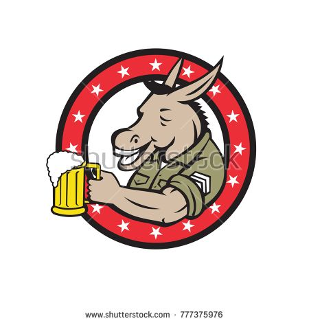 Retro style illustration of a donkey beer drinker wearing a sergeant military uniform holding a mug of beer ale set inside circle on isolated background.  #sergeant #retro #illustration